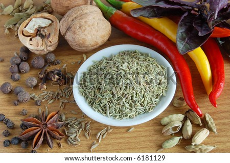 still life of spice: rosemary and other spice