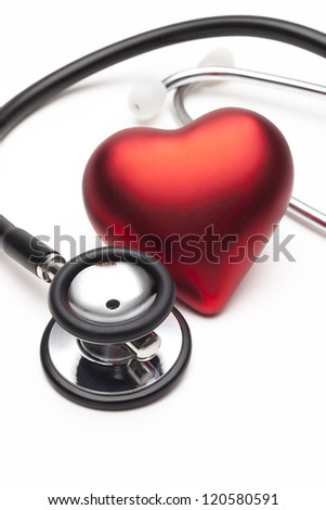 Still life of stethoscope and heart