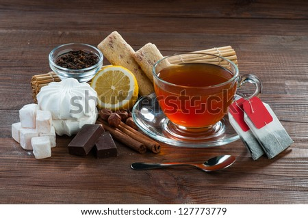 Still life of sweet spices and tea
