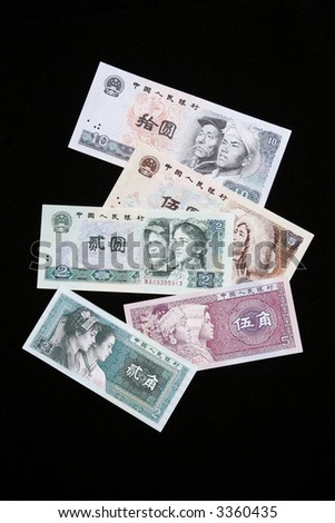 Still life of various banknotes of the Peoples Bank of China
