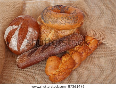 Still life of various bread products.