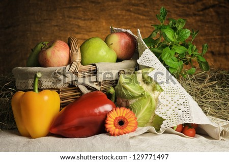 Still Life Of Vegetables And Fruits. Harvest Of Bulgarian Products.