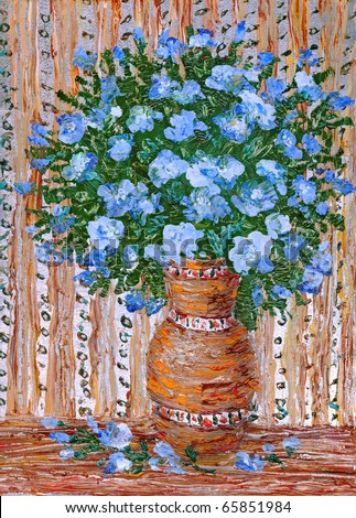Still life oil painting bouquet of blue flowers in a vase of orange