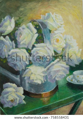Floral Still Life Orchid With Watering Can and Pot Botanical Oil Painting Original Orchid Oil Painting on Canvas