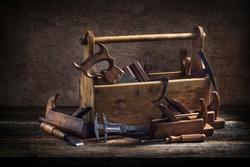 Still life - Old Wooden Tool Box Full of Tools