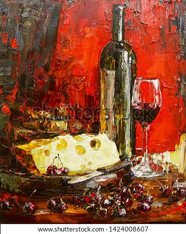 Still life on a bright red background. A bottle of good wine, a glass, cheese and a sweet cherry are depicted, painted in the expressive manner. Palette knife technique of oil painting and brush.