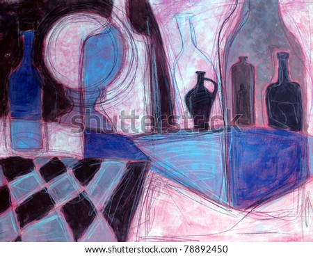 Still life painting/drawing of  stylized bottles
