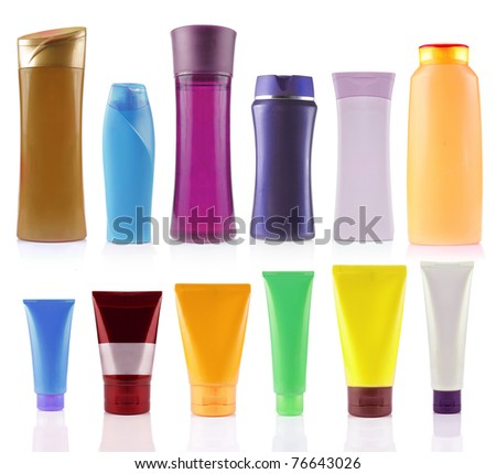 still life portrait of a group of product packaging. isolated over white