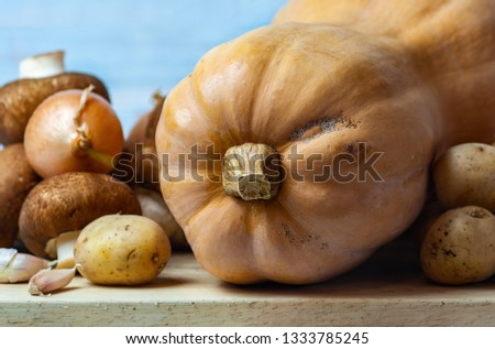 Still life-pumpkin Butternut squash, brown mushrooms, onions, small potatoes, garlic, on a wooden Board. On a blue background. Macro picture.
