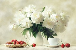 still life, splendid bouquet snow-white peony and sweet aromatic strawberry