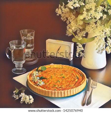 Still life tart, drink and flowers