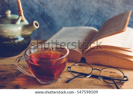 Still life tea time with book #547598509