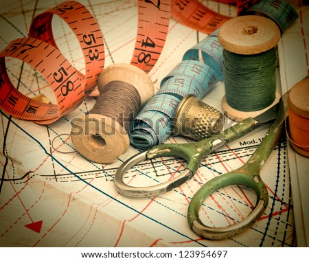 still life various sewing accessories in the scheme