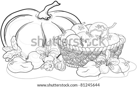 still life: various vegetables and wattled basket, monochrome contours