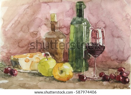 still life watercolor of household utensils and fruit