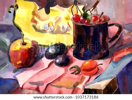 still life watercolor vegetables and fruits cherries apple plum pumpkin