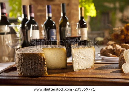Still Life Wine And Cheese Composition From Tuscany