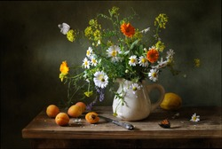 Still life with a beautiful bouquet of flowers and butterflies