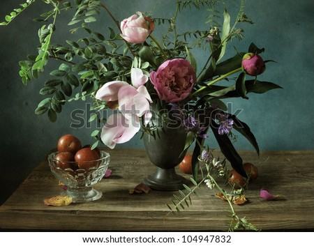 Still life with a beautiful bouquet of mixed flowers