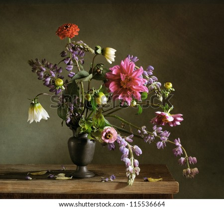 Still life with a beautiful bunch of autumn flowers