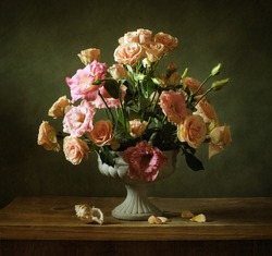 Still life with a beautiful classical bouquet of roses