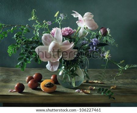 Still life with a beautiful summer bouquet