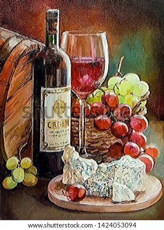 Still life with a bottle of red wine, vines of green and pink grapes and cheese. Oil painting on canvas.