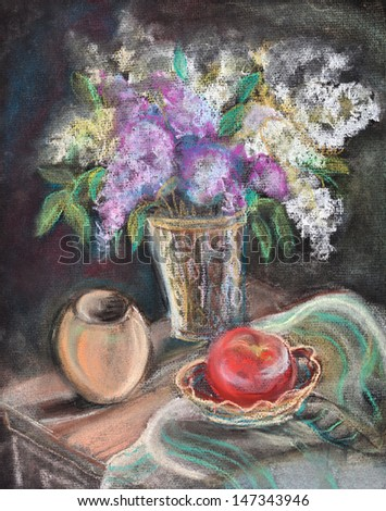 Still life with a bouquet of a lilac and a tomato