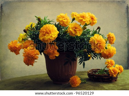 Still life with a bouquet of marigolds