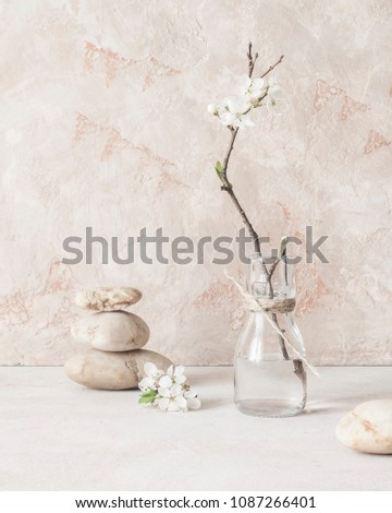 Still life with a branch of blossoming ?pple trees on the background of textured walls in the style of wabi-Sabi. Selective focus.Selective focus. #1087266401