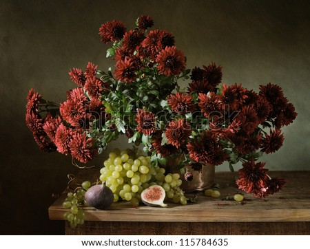 Still life with a bunch of chrysanthemums