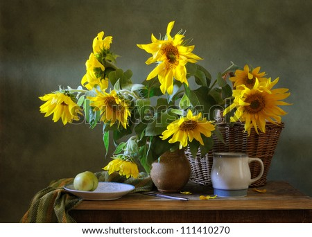 Still life with a bunch of sunflowers