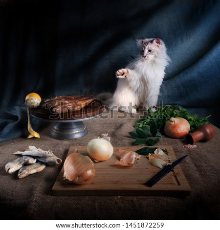 Still life with a cat, smoked fish, salted fish and parsley