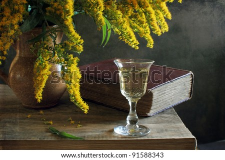 Still life with a glass of wine