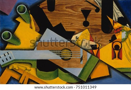 STILL LIFE WITH A GUITAR, by Juan Gris, 1913, Spanish Cubist painting, oil on canvas. This work is strongly influenced by the Picasso/Braque second style, Synthetic Cubism as Gris named it. Flat forms