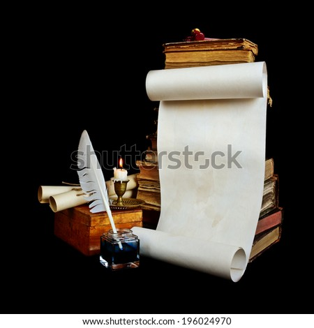 Still life with a letter, a pen, a lighted candle in copper candlestick on a background of old books