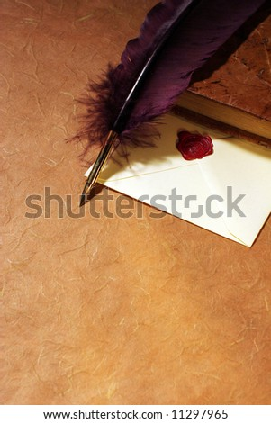 Still-life with a letter, a quill  and a dairy