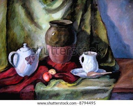 Still life with a tea-pot. I painted this at art college and did a digital copy.