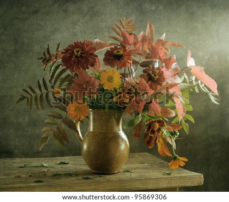 Still life with a voluptuous bouquet of flowers