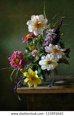 Still life with a voluptuous bunch of flowers