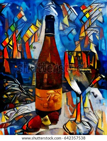 Still life with alcoholic drinks and glasses. Abstraction in contemporary underground style oil on canvas with elements of pastel painting. Famous style of Georges Braque, Matisse, van Gogh, Pollock