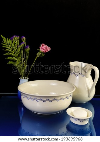 Still Life With Antique Wash Basin With Matching Water