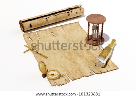 Still Life with antiques  on white background.