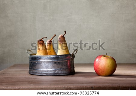 Still Life with Apple and Pears in metal Bowl