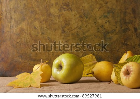 Still Life with Apples and autumn leaves