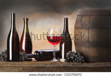 still life with barrel and red wine