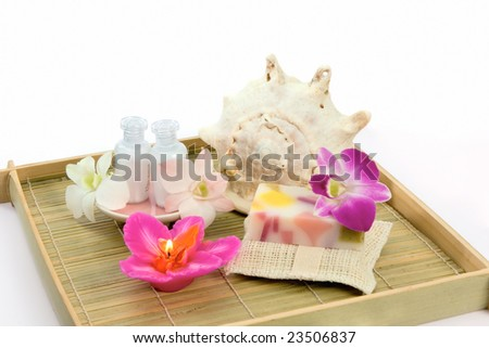Still-life with bath and sauna accessories on white background