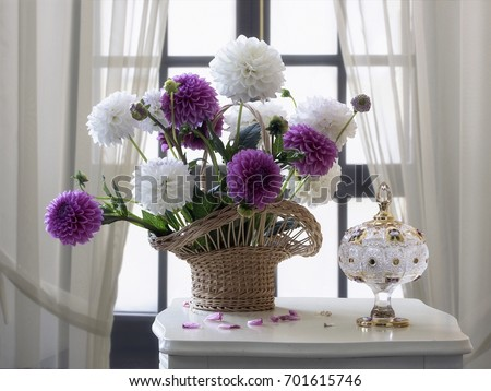 Still life  with bouquet of dahlias #701615746