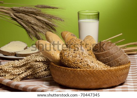 still-life with bread - stock photo