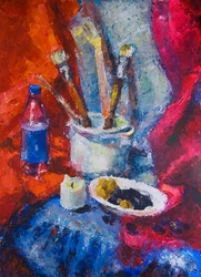 Still life with brushes and candle - impressionist painting